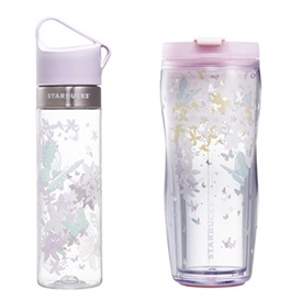 Butterfly Clay Water Bottle & Mint Butterfly Tumbler