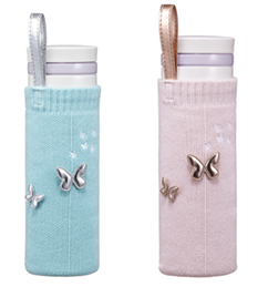 Mint and Pink butterfly bottle covers